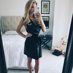 Dresses & Skirts - Black faux leather tie dress.